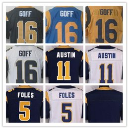 Wholesale NIK Elite Football Stitched Rams Goff AUSTIN Foles Blank White Light Blue Gold Jerseys Mix Order