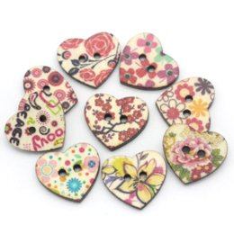 """Wholesale 100PCs Wood Sewing Buttons Scrapbooking Pattern Printed Heart Mixed 1""""x 7 8"""" M63105 Buttons Cheap Buttons"""
