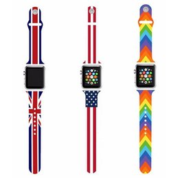 Wholesale The Union Flag US UK Flag The Stars and Stripes in Silicone Watchband Strap For Apple Watch Sport mm mm iWatch Bracelet Free Ship