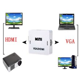 Wholesale 2016 New Hot Mini VGA to HDMI Converter With Audio VGA2HDMI P Adapter Connector For Projector PC Laptop to HDTV
