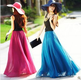 Bohême plissé jupe longue en Ligne-plissés longues printemps femmes robe de bal jupe d'été mode Bohemia Watkins en mousseline de soie maxi de haute qualité grande pendule swing jupe plage fairy tutu