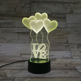 Wholesale Creative Touch LED D light illusion love USB Touch Night Light Sculpture Desk Lamp Art Room shop Christmas Decor festival party gift