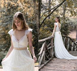 2016 Designs Beach Bohemian Ivory Wedding Dresses A Line Sweetheart back Open back Ribbon Full Lace Bridal Gowns Custom made