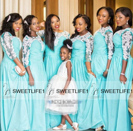 2016 A Line Long Bridesmaid Dresses for Black Girls Pretty Appliques Half Sleeves Draped Vintage Cheap Maid of Honor Gowns Long Prom Dresses