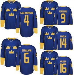 Wholesale Men s Team Sweden Niklas Hjalmarsson Anton Stralman Filip Forsberg Mattias Ekholm Marcus Kruger World Cup of Hockey jersey