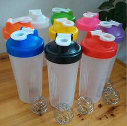 Wholesale 20 Ounce Blender Bottle Sports Protein Mixer Shaker Water Bottle Cup With Stainless Wire Whisk Ball