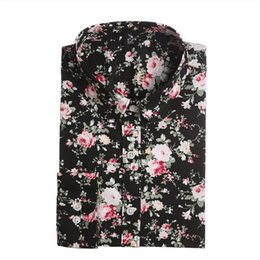 Clearance Floral Blouses Cotton Shirts Women Vintage Turn-Down Collar Tops camisa Ladies Clothing Long Sleeve Blouse