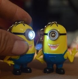 Wholesale promotion ABS key chain despicable Me keychain small yellow doll key ring doll keychain with cute LED light and i love you sounds