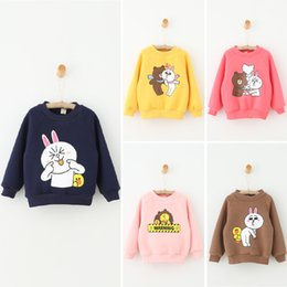 Wholesale Sweet Kids Girls Autumn Boat Neck Print Cartoon T shirt Casual Print Cute Bear and Rabbit Multi Color Tops