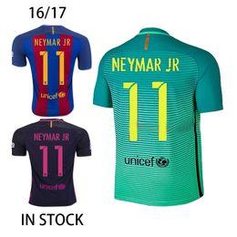 Wholesale 2016 Barcelona Iniesta Soccer Jerseys Lionel Messi Uniform Third Neymar JR Camisetas de futbol Suarez Shirts Maillot de Foot