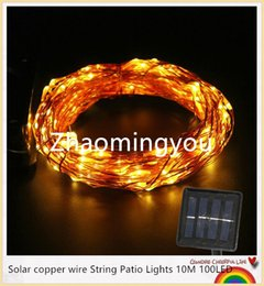 YON Solar copper wire String Patio Lights 10M 100LED Outdoor waterproof warm cold white Fairy lights Christmas decoration lamp