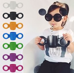 Wholesale Kids Drinking Mugs Big Ears Drinkware baby Drinking Solid Domoor Cup Baby INS Milk Cup Baby Safety Drink Cup Tableware ml cup LJJK571