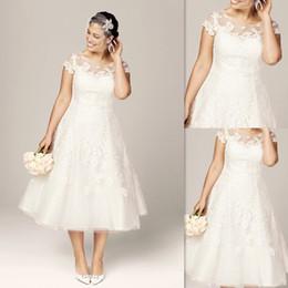 Wholesale Vintage Wedding Dresses Tea Length Lace Sheer Neck Cap Sleeved Appliques Bridal Gowns Informal Discount Antique Dress For Brides
