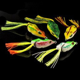 Wholesale New cm g Bass frog pro lure frog rubber tail lure frog fishing tackle surface frog lure