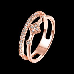 Wholesale CZ Diamond K Gold Rose Gold Plated Double Deck Rings Jewelry ary Christmas Wedding Engagement Accessary Ring For Women And girls