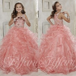 2017 Girls pageant Dresses for Teens Ball Gown Scoop Coral Organza Beaded Ruffles Long Flower Girl Dresses For Weddings First Communion