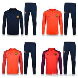 Wholesale high quality sweatshirt Barcelona football training uniforms long sleeved football soccer sportswear suit