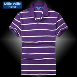 Wholesale Freeshipping Famous Brand Top Quality Small Horse Men s Striped Tops Short Sleeves Casual Shirts Male Summer Dress Sport color