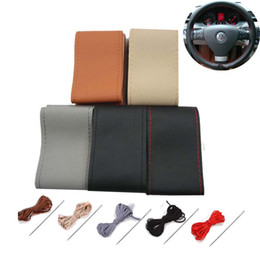 Breathe freely,wear-resisting DIY Genuine Leather Car Steering Wheel Cover for ford focus 2 peugeot 307 bmw toyota