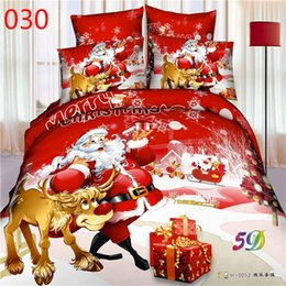 Wholesale Christmas Bedding Sets Queen - Bed New 3D oil painting bedding set rose flower Father Christmas 100% cotton 4 pcs queen size duvet cover bedsheet pillowcase hoem textiles