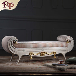 Wholesale Versailles bed end bench French classic furniture European classic antique bedroom furniture luxury solid wood bed end bench