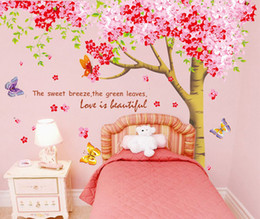 Wholesale Super Large Cherry Flowers with Trunk Wall Stickers for Living Room Bedroom Sakura Wall Applique Romantic Wedding Room Decoration Wallpaper