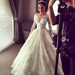 Steven Khalil Ball Gown Wedding Dresses 2016 Romantic Dubai Ball Gown with Floral Lace and long Sleeve