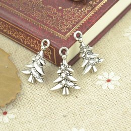 wholesale 150pcs Vintage silver jewelry Christmas tree charms metal pendants for diy necklace & bracelets jewelry accessories 21*14mm 21110