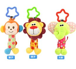 Cute Baby Cartoon Plush Animal Toy Kids Plush stroller crib Rattle Bed Hanging Bell toys