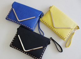Wholesale Studded Bag Free Shipping - H1817 TTM punk 2013 New Faux Leather STUDDED envelope clutch BAG PDA CASE Dropshipping Free shipping wholesale