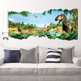Wholesale DHL Jurassic Park Dinosaurs Wall Stickers Kid Room Home Decoration living room WallPaper Cartoon Removable CM