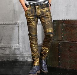 2016 Hot Famous Tags vintage Jeans Spray-on Hiphop Cargo Pants zipper pocket Demin Jeans streetwear pants for men Golden silver Black