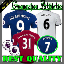 Wholesale 2016 best Thailand Quality MancHester Jersey home away rd jerseys UnITED Ibrahimovic MEMPHIS ROONEY POGBA jersey