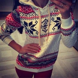 Wholesale New Jumpers Womens Fashion Women Snowflake Print Long Sleeve Pullover Knitted Sweater Female Christmas Sweaters