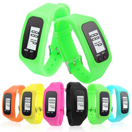 Wholesale Walking Distance Calorie Counter Bracelet Watch Candy Color Fashion Design Multifunction Digital LCD Pedometer Fitness Run Step watches