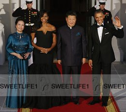 Wholesale Michelle Obama Popular Black Floor Length Chiffon Prom Dresses Celebrity Off Shoulder Party Evening Formal Gowns Open Back