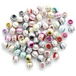 Wholesale 100 Stainless Aluminium Big Hole Loose Spacer Beads Charms Fit DIY Jewelry Making Bracelets