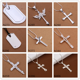 New arrival sterling silver Necklace GTP56,fashion cross shape 925 silver Necklace 6 pieces a lot mixed style