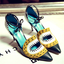 2016 new white green yellow hit the eyes of Baotou High Heels Sandals