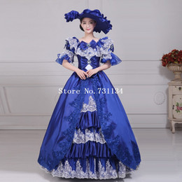 Wholesale On Sale Blue Embroidery Lace Medieval Marie Antoinette Dresses Women Southern Belle Party Ball Gowns Includes Hat Dress
