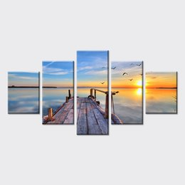 Wholesale Sunrise Wall Art Home Decor - 5 Piece Cheap scenery Sunrise Pictures Art on Canvas Prints oil Painting wall pictures Vintage Home Decor for living room