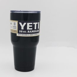 Wholesale 30oz YETI Tumbler Rambler Cups Colored Stainless Steel YETI Mugs Blk Red Pink Green White Orange Beer Coffee Water Ice Cake