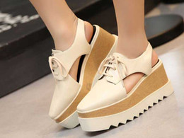 small big size33-41 new 2016 summer women cutout empty back thick trifile sole quality shoe lady lace up leisure shoe