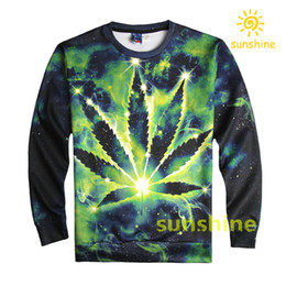 Wholesale 2016 August new arrival D print green maple leaf hoodies Unisex womens mens cool sweatshirts sizes inc bargain price