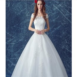 Wholesale Sweet Summer Foreign Trade New Lace A Word Shoulder The Princess Bride Cultivate One s Morality Show Thin Shoulder Wedding Dresses