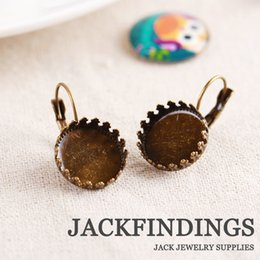 Wholesale 15mm High Quality Antique Bronze Plated Brass Crown French Earring Settings Base Settings Cabochon Cameo Whole Sale