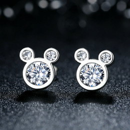 Genuine 925 Sterling Silver Earrings Studs Dazzling Cartoon Push-back Stud Earrings Women Fine Jewelry ER064