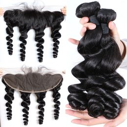 Indian Loose Wave Virgin Human Hair Weave With Ear to Ear Full Lace Frontal Cheap Loose Curl 3 Bundles with Lace Frontal Closure