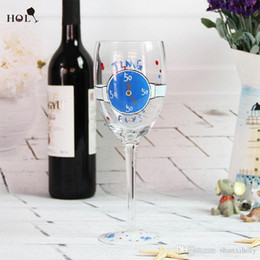 Hand painted watch glass red wine glass