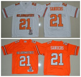 Wholesale Top Quality Cheap Barry Sanders Oklahoma State Cowboys Barry Sanders Jersey Orange White NCAA College football jerseys Mix Order